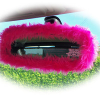 Hot barbie pink cute faux fur furry fluffy fuzzy rear view interior car mirror cover