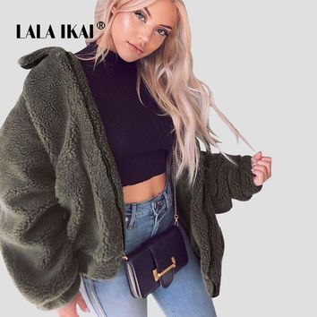 LALAIKAI High Street Teddy Fur Coat Women Turn Down Collar Winter Warm Faux Fur Jacket Ladies 5 Colors Wool Outwears SWA2282-47