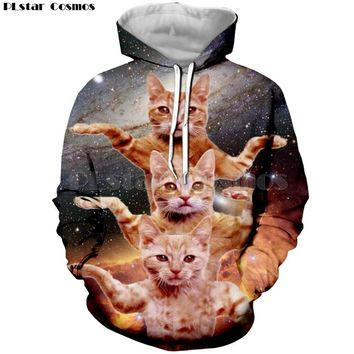 PLstar Cosmos 2018 New Womens Funny Animal Printed Clothes Streetwear Galaxy Space Cat 3D Hoodie Women Autumn Hoodies Sweatshirt