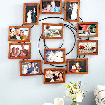 Collage Frame Photo Wood & Metal Spiral Memories Family Sentiment Home Decor NEW