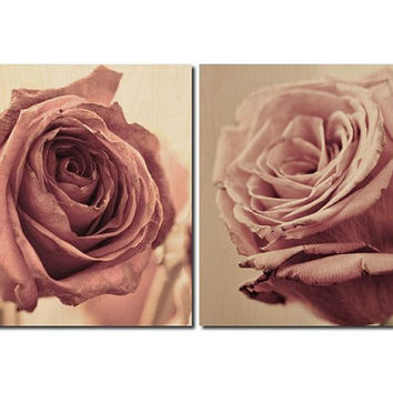 Dusky Rose Set 2 Square Photoboard Fine Art Photograph Wall Wood Print Home Decor Shabby Chic Cottage Pink Vintage Aged Unique One of A Kind