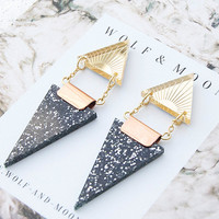 Double Triangle Earrings in Gold and Black Glitter by Wolf and Moon