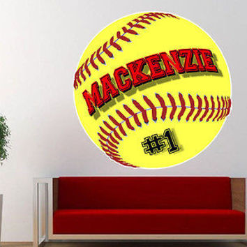 Personalized FastPitch Softball Vinyl Wall Decal Sticker Custom Colors!