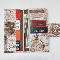 Travel wallet, Family cotton travel holder, Brown travel document organizer, Chocolate Boarding pass cover, Passport wallet, Map print