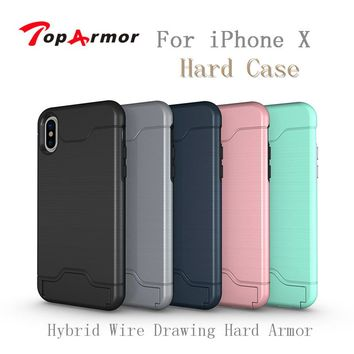 TopArmor Hybrid Wire Drawing Hard Armor Case Cover For iPhone X With Stand Card Holder Mobile Phone Shell For iPhone X Fundas