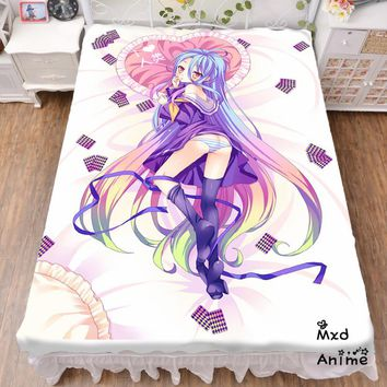 Japanese Anime No Game No Life Shiro Bed sheet Throw Blanket Bedding Coverlet Cosplay Gifts Flat Sheet cd047