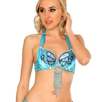 Turquoise Angel Wings Bra & Belt Set