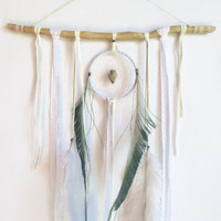 one of a kind lace bohemian dream catcher // arrowhead, home decor, dreamcatcher, wall hanging, boho home,  white home decor