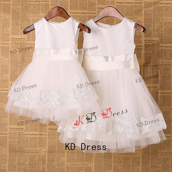 20% OFF Cute Ivory Tulle Satin Flower Girl Dress Toddler Birthday Party Dress with Sash/Flower/Bow and Petals