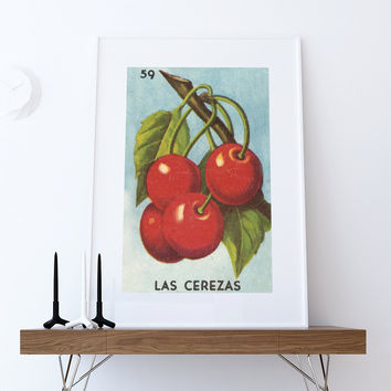 Loteria Las Cerezas Mexican Retro Illustration Art Print Vintage Giclee on Cotton Canvas or Paper Canvas Poster Wall Decor