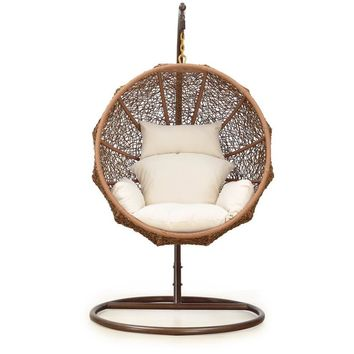 Brown Zolo Hanging Rattan Lounge Chair