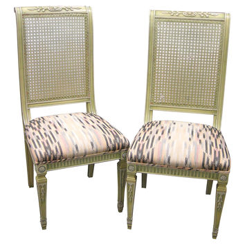 French Cane-Back Side Chairs, Pair