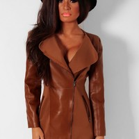 Roman Tan Leather Panel Zip Jacket | Pink Boutique