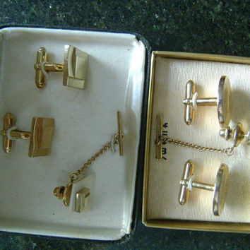 Tradition Award Collection & SWANK Tuxedo Stud Tie Tac Lapel Pin Attached Chain Cuff Links Cufflinks Sets Men's Accessories With Case Boxes