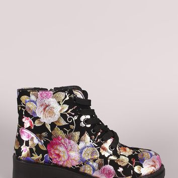 Bamboo Floral Suede Lace-Up Combat Ankle Boots