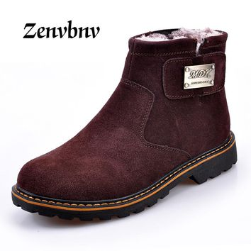 ZENVBNV 2017 Brand Super Warm Men's Winter Leather Men Waterproof Rubber Snow Boots Leisure Boots England Retro Shoes For Men