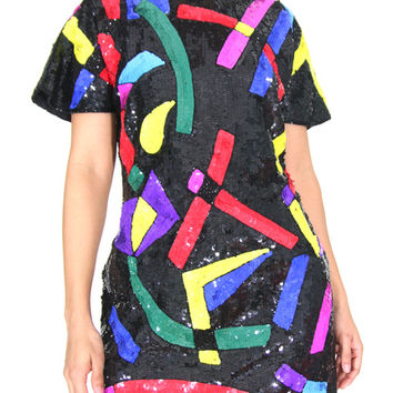 Vintage 1980s Black Sequined Dress With Rainbow Abstract Pattern