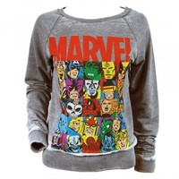 Womens Marvel Comics Burnout Raglan Sweater Grey