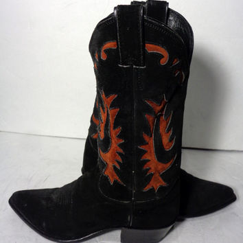 Justin Black Suede Leather Cowboy Western Boots Women's Size 7.5