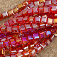 100 Faceted Cube 4mm Hyacinth AB Beads