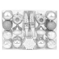 40ct Variety Shape Ornament Set - Bright Silver
