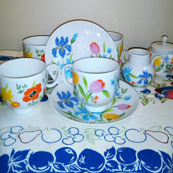 Selb Heinrich Primavera Tea Set, Heinrich Primavera Cream and Sugar, Heinrich Tea Cups and Saucers, Bavaria China, German Porcelain