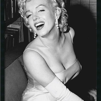 "0-010349>38x26"" Marilyn Monroe Smiling Wall Art Satin Black"