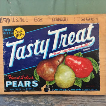 Vintage Fruit Crate Label, Found Art, Tasty Treat, Pear Decor, Kitchen Wall Art