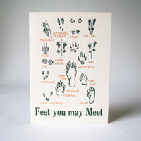 Antique Letterpress Card Feet You May Meet