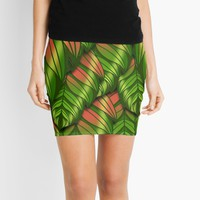'The Dusk Plumed Leaf' Mini Skirt by Kerry-Symetria