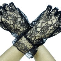 Gothic Lolita Black Lace Fingerless Gloves Anime
