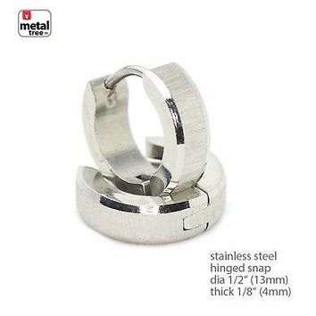 Jewelry Kay style Men's DJ Fashion Stainless Steel Huggie Hoop Hinged Snap Earrings SSHE 029 S