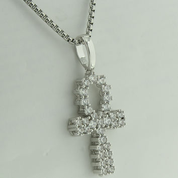 Prong Set Ankh Cross Pendant White Gold Finish Lab Diamonds Symbol Of Life 24 Inch Necklace Steel