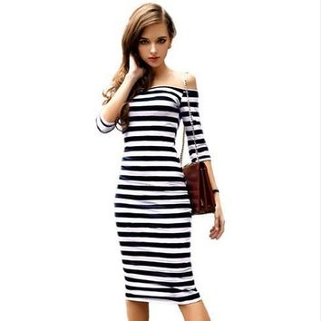 Female Striped Dress Black White Blue Slash Neck Women Sexy Slim Strapless Sheath Knee Length Dress