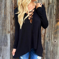 Lace Up Causal Long Sleeve Shirt