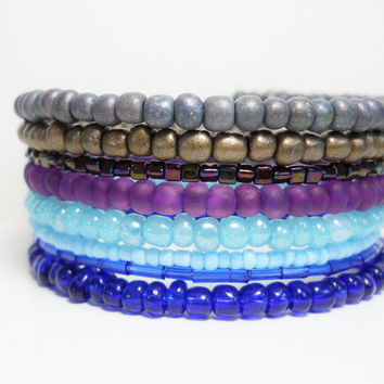 Stacked Bracelet Blue Purple Gray Memory Wire Beaded Wrap Color Block Summer Fashion
