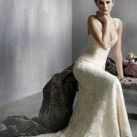 Buy discount Stunning Lace Mermaid V Neckline Wedding Dress at dressilyme.com