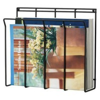 Wall Mount Wire Magazine Rack - Black