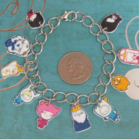 Adventure Time Charm Bracelet Finn Jake Marceline by OneKraftyB