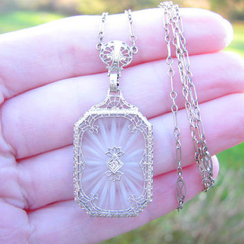Art Deco Carved Rock Crystal Diamond Filigree Necklace, Intricate Details, White Gold, Old Cut Diamond, Long Fancy Link Chain