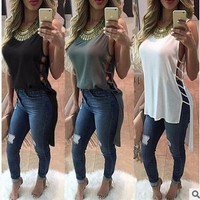 Blouse Side Hollow Out  Tank Tops Fashion Irregular Casual Chiffon Shirt Women