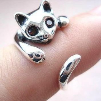 925 Sterling Silver Cat Rings on Luulla