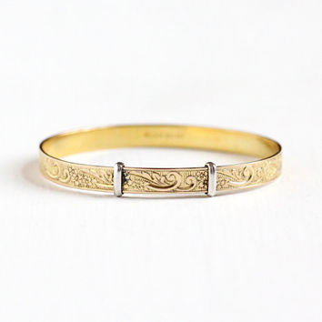 Vintage 12k Yellow Gold Filled Flower Vine Design Child's Expanding Bracelet - Retro Tiny Expander Baby Bangle Floral Silver Accent Jewelry