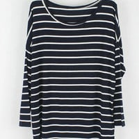'The Kalea' Monochrome Stripe High-Low Long Sleeve Tee