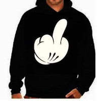 Cartoon hand middle finger funny :Hooded Sweatshirts hoodie screen print Cool hoodies Funny Humorous clothes designs graphic hoodies hoody
