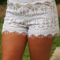 The Lace You're In Shorts: White/Nude - Bottoms - Hope's Boutique