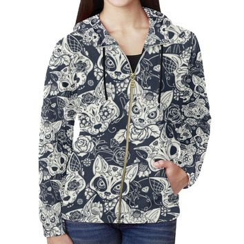 Fox Skull Design 1 Women's All Over Print Full Zip Hoodie