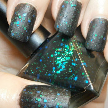 Smutty Mermaid Nail Polish - Matte Black, Green & Blue Grunge Glam - Mud Wrestling - Full Size 15 ml Bottle