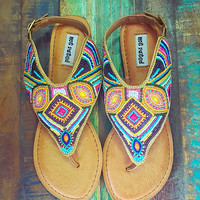 Not Rated Mariachi Beaded Sandals Tan