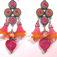 Valentine's Day  Earrings Handcrafted, Pink Hearts, Pink & Orange Acrylic flowers